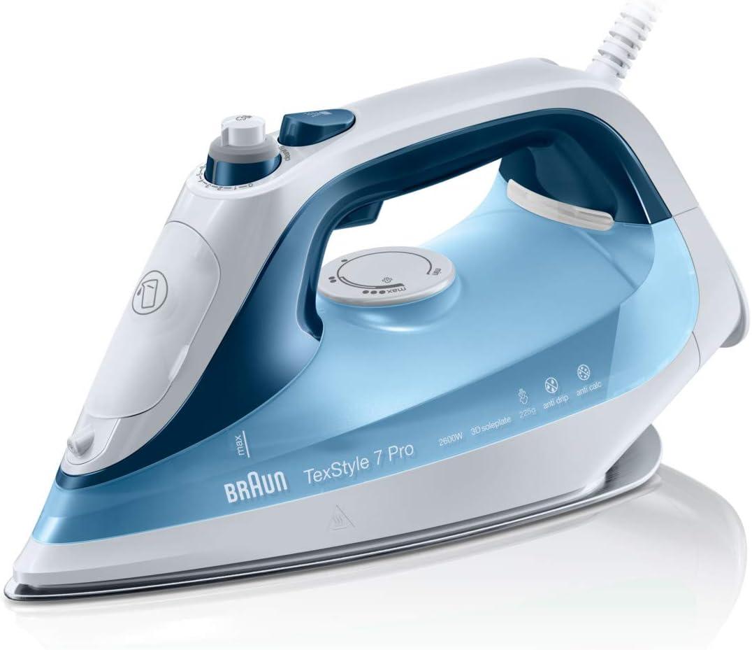 Braun Texstyle 7 SI7062BL - Plancha ropa vapor, 2600 w, suela bidireccional eloxal 3d, golpe de vapor 225gr/min, azul