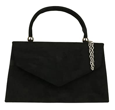 Girly HandBags Top Handle Faux Suede Clutch Bag Grab Holder Womens Handbag  - Black 93e12f82eb