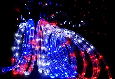 online store a02c9 13cfc Izzy Creation 21FT Patriotic Red, White and Blue LED Flexible Rope Light  Kit, Indoor/Outdoor, 3/8