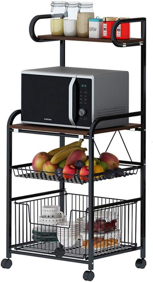 Ctystallove 4 Tier Metal Kitchen Bakers Rack Rolling Utility Cart Spice Rack Microwave Oven Stand Shelf Utensil Holder Drawer Organizer Fruit Vegetable Storage Basket