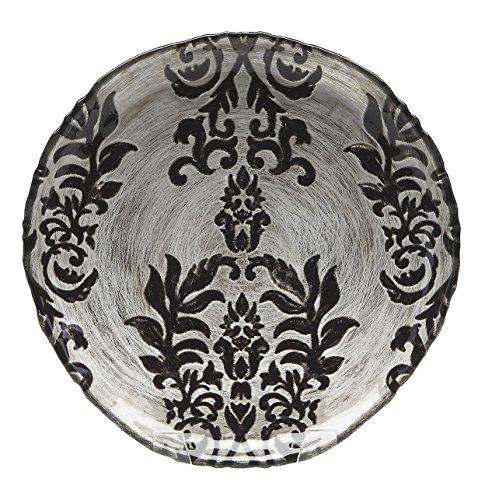 (Red Pomegranate Damask Canape Plate Black Velvet 6.5-Inch)