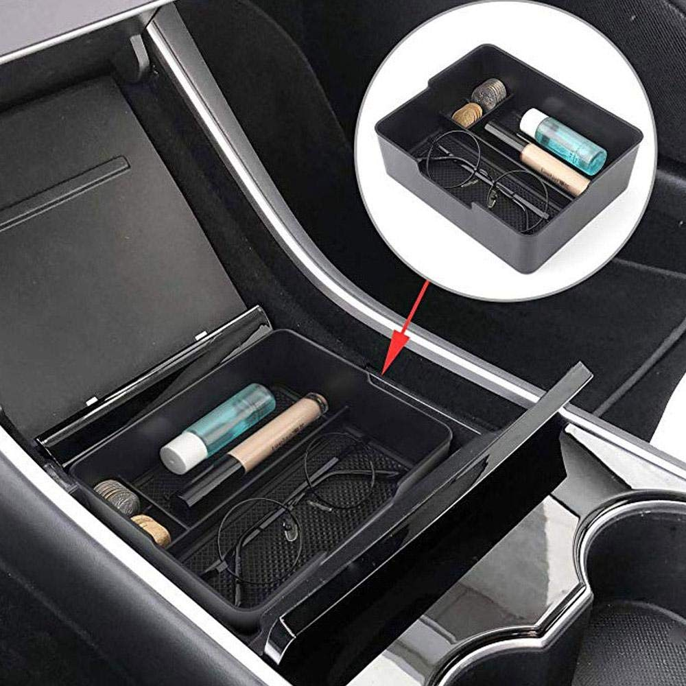 Lesgos Center Console Armrest Organizer for Tesla Model 3 Accessories Tray Coin Glass Cup Holder Pallet Storage Box Container Black