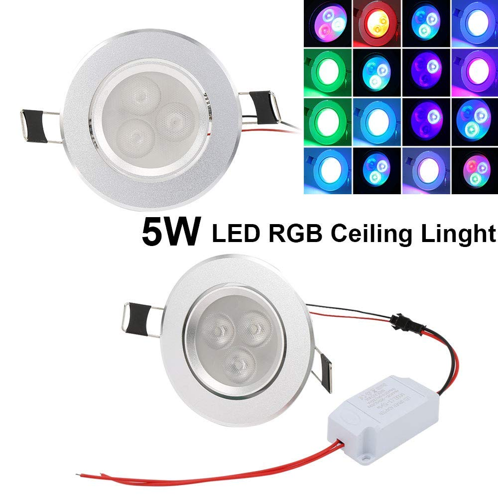 Dimmable LED Ceiling Lights Recessed Ceiling Downlights Spotlight 5W Color Changing RGB 2.4 inch with IR Remote Control 1 Pack