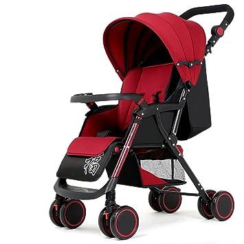 Carros de bebé de cuatro ruedas, carritos de bebé, carros de bebé, pueden sentarse y acostarse para doblar el carro de bebé (Color : Vino rojo) : ...