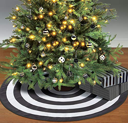 Amscan Black and White Tree Skirt, Elegant Polyester Accessory Measures 46 Inches Diameter, For Halloween or Christmas (Tree Christmas Black White Ornament)