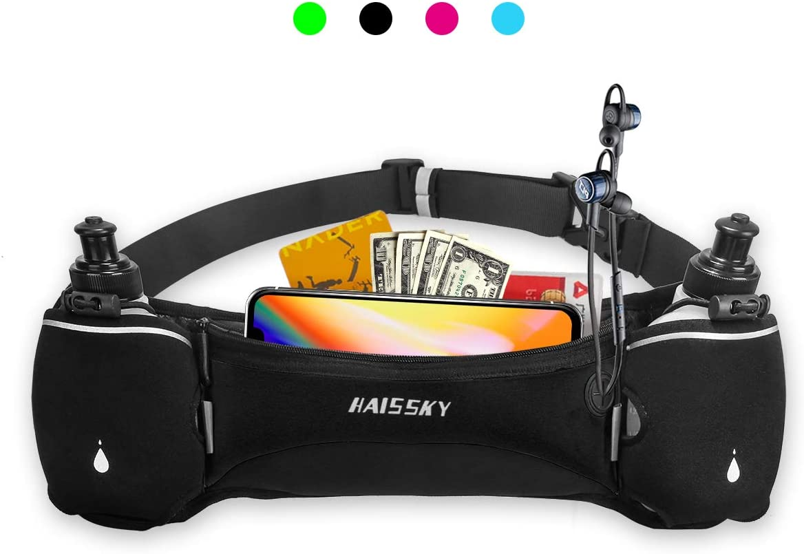 HAISSKY Hydration Running Belt with Water Bottle, Upgraded Waist Bag No Bounce Reflective Waist Pack Phone Holder for Running Jogging Climbing Fits iPhone XR XS MAX 8 X 7 Samsung Note Galaxy