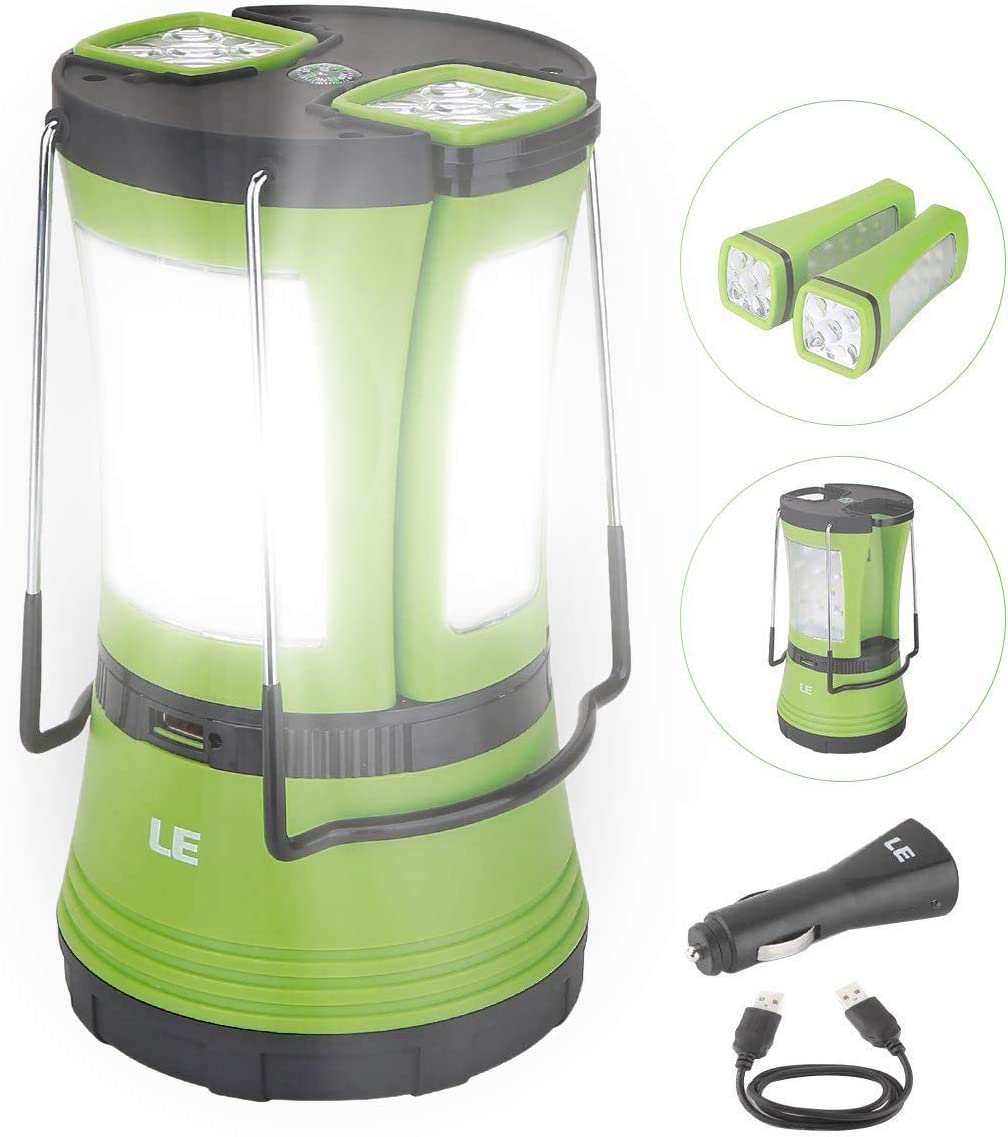 LE LED Camping Lantern Rechargeable, 600LM, Detachable Flashlight, Perfect Lantern Flashlight for Hurricane Emergency, Hiking, Fishing and More, USB Cable and Car Charger Included: Sports & Outdoors