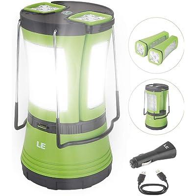 LE Lámpara de Cámping LED, 600 lúmenes, con 2 Antorchas Desmontables, USB Recargable y Con Pilas, Farol Cámping Resistente al Agua, Luz de Trabajo Exterior para Emergencias, Senderismo, Pesca y Más