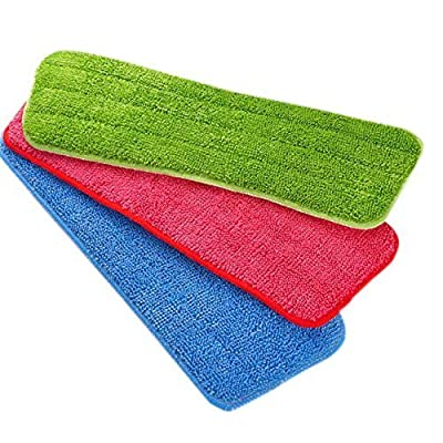 Microfiber Mop Replacement Fit All Washable & Reusable Mops Pad Heads Refills for Wet/Dry wirh Extra Scraper