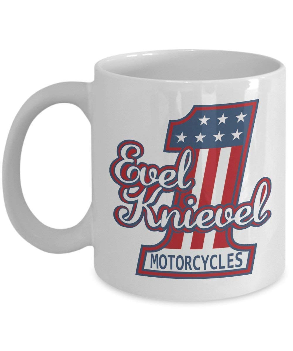 Amazon com evel knievel coffee mug cup white 11oz motorcycle rider memorabilia poster gifts shirt sticker merchandise gear equipment accessories kitchen