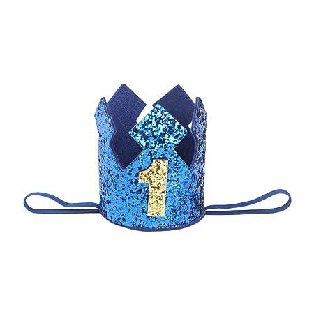 Westeng Diadema para Niños Cabello Kawaii Cintas del Pelo Diseño de la Corona Banda Elástico Pelo Accesorio Cumpleaños y Fiesta (Azul-1 años de Edad)