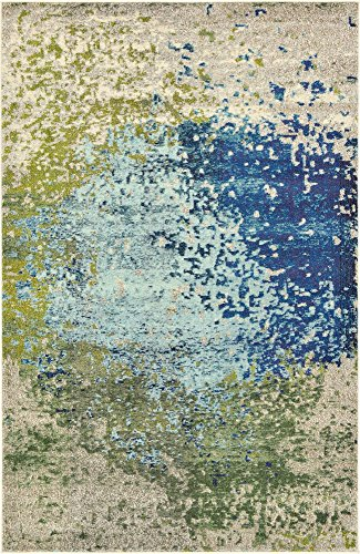 Unique Loom Estrella Collection Colorful Abstract Blue Area Rug (5' 0 x 8' 0) ()