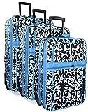 Blue Black Damask 3 Piece Expandable Luggage Set