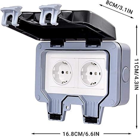 Exing Steckdose EU,2 Typ Wasserdicht und staubdicht Sichereres Design F/ür den Au/ßenbereich Double-1 PCS