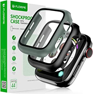 FLOVEME Protective Case with Glass for Apple Watch Series 6 5 4 SE 44mm Screen Protector 2 Pack Tempered Glass Hard PC Bumper Cover Compatible with Apple Watch Screen Protector 44mm - Case for iWatch