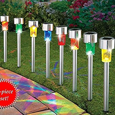 Solar Lights Outdoor,Sogrand Garden Path Light 4Color LED Stainless Steel Landscape Lighting for Pathway Walkway Driveway Patio Yard Pack of 8
