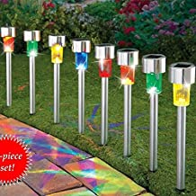 Sogrand Solar Lights Outdoor Pathway Decorative Waterproof Garden Stake Light 4 Color LED Decorations Lamp Stainless Steel Stakes for Patio Outside Landscape Walkway 8Pack