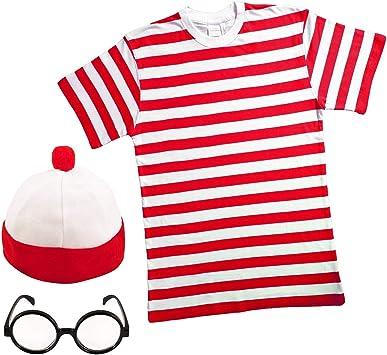 Crazy Chick HOMBRE MUJER ROJO Y Blanco Rayas Camiseta Sombrero ...