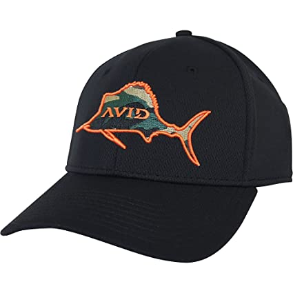 38c7a171 Amazon.com : AVID Sailfish Fitted Hat - Black - S/M : Sports & Outdoors