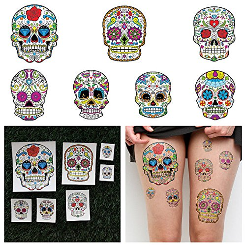 Tattify Dia De Los Muertos Temporary Tattoos - Los Muertos (Set of 14 Tattoos - 2 of each Style) - Individual Styles Available - Fashionable Temporary Tattoos]()
