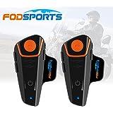 Fodsports 2 pièces BT-S2 1000m Casque de moto interphones & Bluetooth Intercom Walkie-talkie