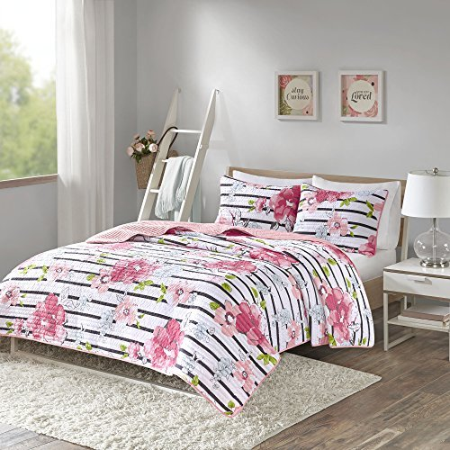 Comfort Spaces - Zoe Mini Quilt Set - 3 Piece - Pink - Adorable Ultra Soft Microfiber Printed in Cheerful Vibrant Multi-Color Floral Design - Queen Size