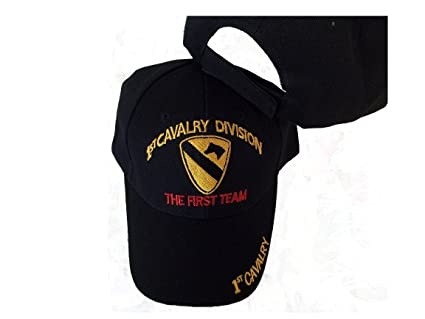 4f8945d1c66b8 Image Unavailable. Image not available for. Color  1st Cavalry Division  Black Embroidered Baseball Cap Usa First Team ...
