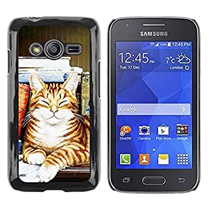 Be Good Phone Accessory // Dura Cáscara cubierta Protectora Caso Carcasa Funda de Protección para Samsung Galaxy Ace 4 G313 SM-G313F // Stripes Cat Happy Sleeping Orange Art