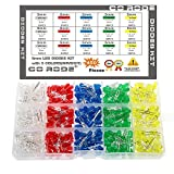 CO RODE 450 Pieces 5mm LED Light Emitting Diode LED Bulbs Lamp Assorted Kit for Arduino (White Blue Red Yellow Green)