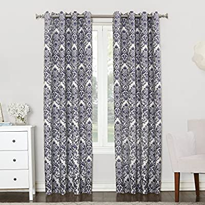 """Sun Zero Caroline Woven Damask Blackout Lined Grommet Curtain Panel, 52"""" x 84"""", Dusk Blue - Woven damask design adds global sophistication Blackout technology blocks out most harsh direct light while enhancing privacy Energy efficient design reduces energy lost through your windows by up to 40% - living-room-soft-furnishings, living-room, draperies-curtains-shades - 61daeNCjWAL. SS400  -"""