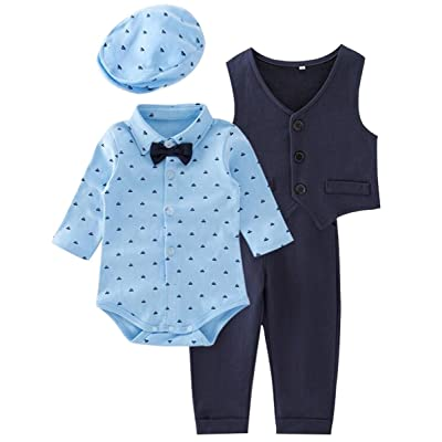 4pcs Infant Baby Boys Gentleman Long Sleeve Bodysuit+Vest+Pants With Hat Tuxedo