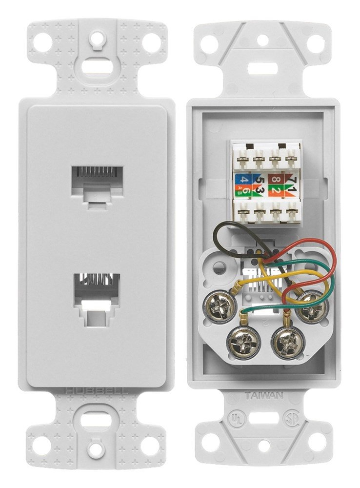 Hubbell Wiring Systems NS784W tradeSELECT Molded-In Voice ... on wireless jack, cinderella jack, sound jack,