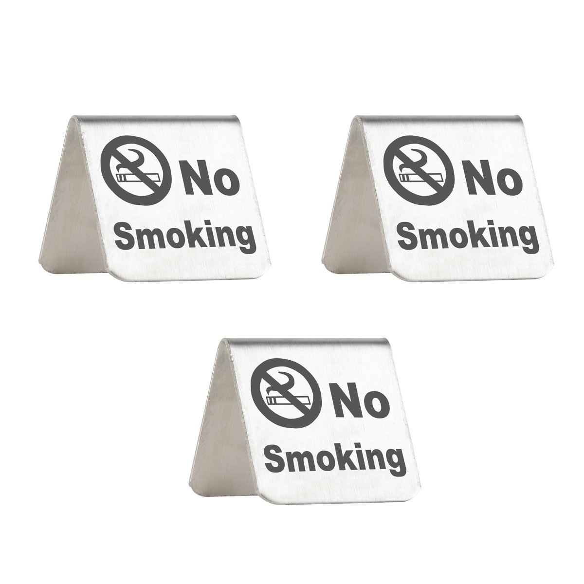 No Smoking Sign - Brushed Stainless Steel Free Standing Table Top Tent Compliance Signs - Double Sided - 2 By 2 Inch - Set of 3