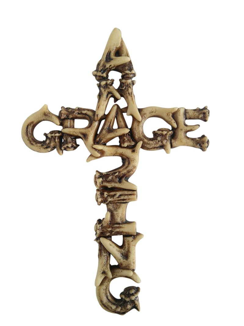 Pine Ridge Amazing Grace Antler Christian Wall Cross Home Decor by Catholic Crafted Polyresin Art Cross Gift Ideas, 6""