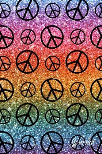 Journal: Rainbow faux glitter peace sign notebook