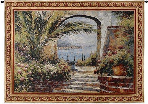 Bronze Feather Tapestry - Rose Arch | Woven Tapestry Wall Art Hanging | Stunning Seaside View Through Lush Floral Courtyard | 100% Cotton USA Size 53x38