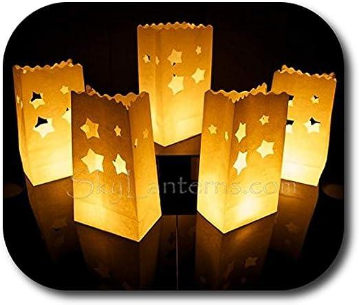 motif /étoiles /… 30 x sac de bougie lumi/ère de th/é en papier ignifuge d/écoration