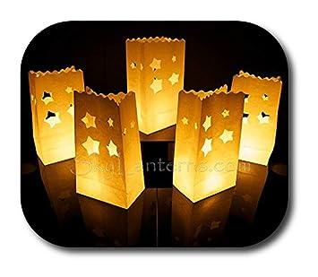 48d5bf39d Bolsas decorativas para velas, Linternas de papel bolsas - 50 unidades,  diseño de estrella: Amazon.es: Hogar