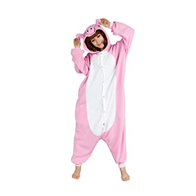 dressfan Unisexes Adulte Enfants Pyjama Animaux Porc rose Costume Cosplay