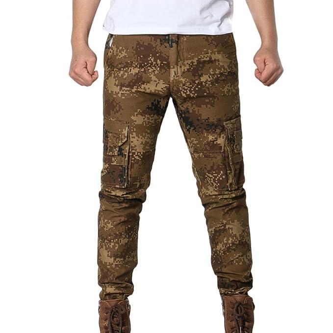 CLOOM Pantaloni Uomo, Pantaloni del Camouflage degli Uomini Che spedicono i Pantaloni dei Jeans Multi Tasca Uomo Casuale Moda Pantaloni da Jogging