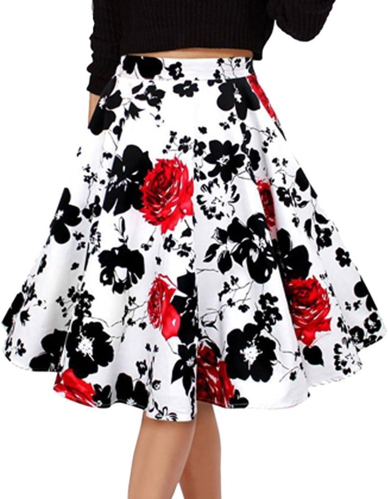 para Mujer Vintage Floral Swing Full Circle Casual Falda Corto ...