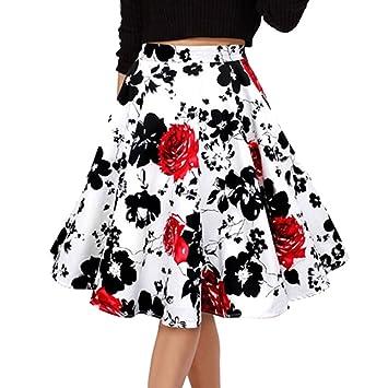 para Mujer Vintage Floral Swing Full Circle Casual Falda Corto Retro Vestidos Blanco Flor roja M