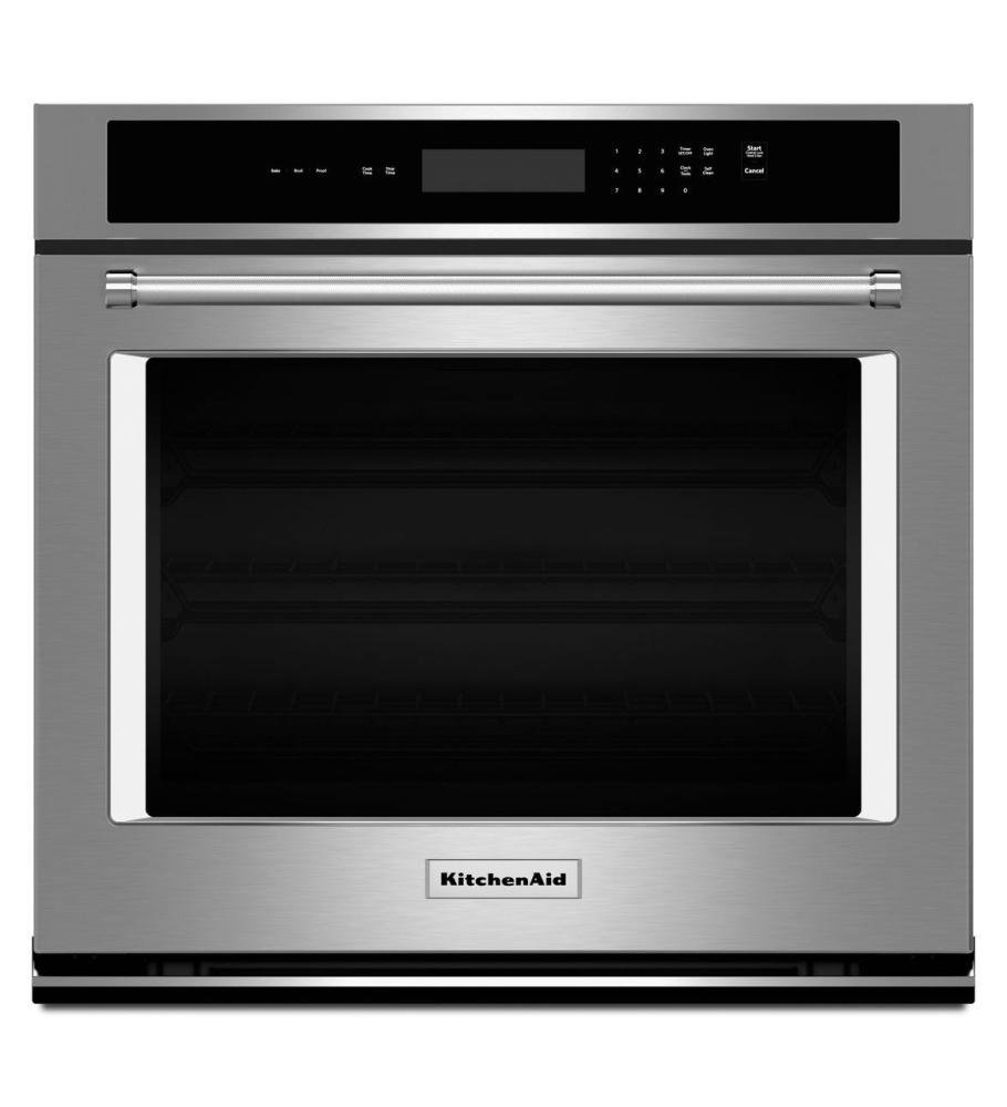 KitchenAid KOST107ESS 27 Inch Single Electric Wall Oven with 4.3 cu. ft. Oven, Even-Heat Thermal Bake/Broil, Glass Touch Display, Halogen Lighting and Self Clean Cycle