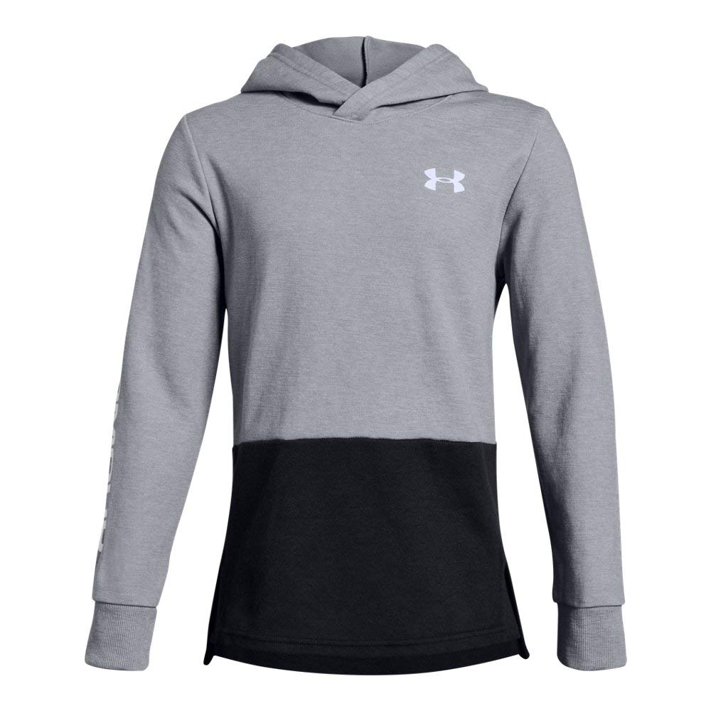 Under Armour Boys Double Knit Hoodie, Steel Light Heather (035)/White, Youth Small by Under Armour