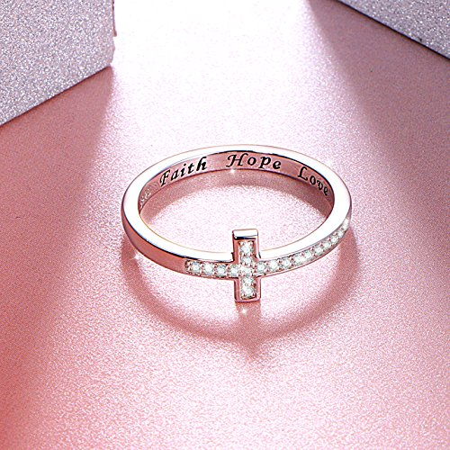 DAOCHONG Inspirational Jewelry Sterling Silver Engraved Faith Hope Love Sideway Cross Ring, Size 6 7 8 (7) by DAOCHONG (Image #2)