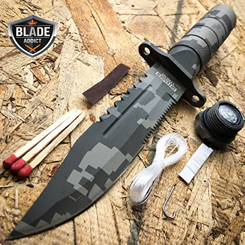 New 8. 5″ Military Camo Tactical Fishing Hunting iCareYou Knife Survival Kit Blade w/ Sheath