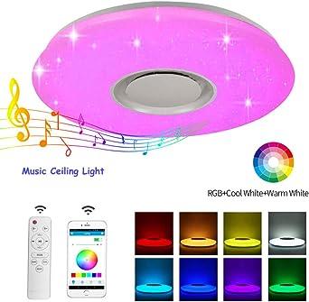 Plafón Lampara De Techo Altavoz Bluetooth 60w Led Luz De Techo ...