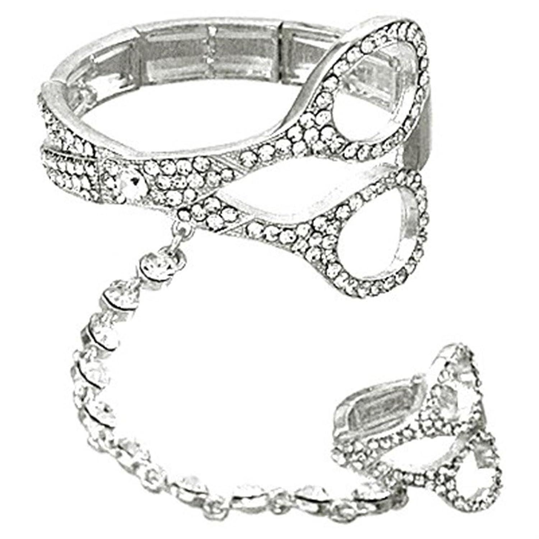 Scissor Slave Stretch Bracelet Ring Set D6 Clear Crystal Hair Stylist