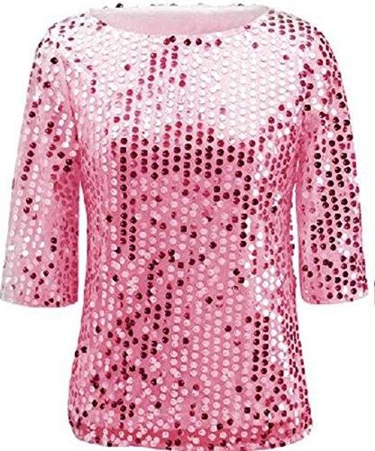 (Women Sequin Sparkle Glitter Tank Coctail Party Tops Shining T-Shirt Blouses (L, Pink))