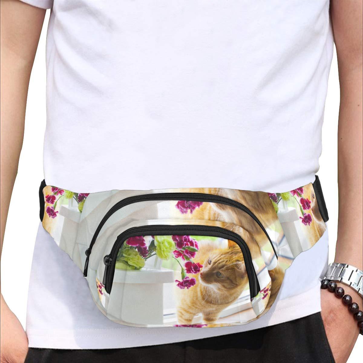 Cat Smell Of Beautiful Flower Fenny Packs Waist Bags Adjustable Belt Waterproof Nylon Travel Running Sport Vacation Party For Men Women Boys Girls Kids